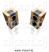 Clipart of 3d Wood Radio Speakers Facing Slightly Towards Each Other, on a Reflective White Surface by KJ Pargeter