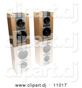 Clipart of 3d Wooden Stereo Speakers Side by Side on a Reflective White Surface by KJ Pargeter