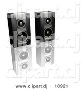 Clipart of a 3d Black and Silver Stereo Speakers by KJ Pargeter