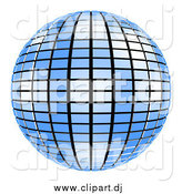 Clipart of a 3d Blue Mirror Disco Ball on White by ShazamImages