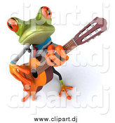 Clipart of a 3d Doctor Frog Playing a Guitar by Julos