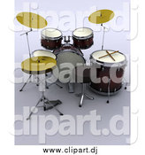 Clipart of a 3d Drum Set by KJ Pargeter