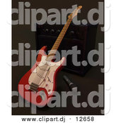 Clipart of a 3d Electric Guitar by a Music Speaker and Microphone by KJ Pargeter
