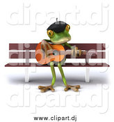 Clipart of a 3d French Frog Playing a Guitar on a Bench by Julos