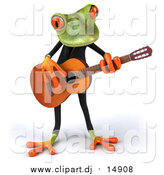 October 3rd, 2016: Clipart of a 3d Frog Playing Guitar by Julos