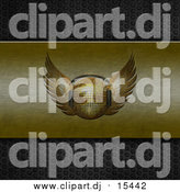 Clipart of a 3d Gold Winged Disco Ball Wearing Headphones on Brushed Gold on Perforated Metal by Elaineitalia