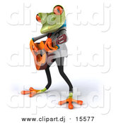 September 1st, 2015: Clipart of a 3d Green Doctor Frog Guitarist by Julos