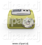 Clipart of a 3d Greenish Yellow Radio with a Station Tuner, on a White Background by KJ Pargeter