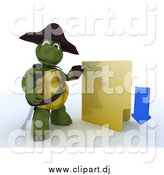 July 14th, 2014: Clipart of a 3d Illegal Download Pirate Tortoise with a Folder by KJ Pargeter