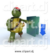 November 26th, 2014: Clipart of a 3d Illegal Download Tortoise Pirate with a Blue Folder by KJ Pargeter