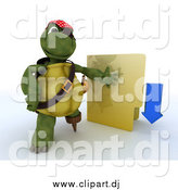 Clipart of a 3d Illegal Download Tortoise Turtle Pirate with a Folder by KJ Pargeter