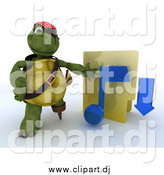 September 29th, 2014: Clipart of a 3d Illegal Music Download Pirate Tortoise with a Folder by KJ Pargeter