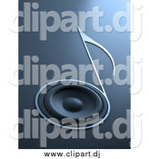 Clipart of a 3d Music Note Speaker by Mopic