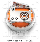 Clipart of a 3d Orange Radio Button by Tonis Pan