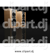 Clipart of a 3d Pair of Wood Speakers Side by Side, Facing Right, on a Reflective Black Surface by KJ Pargeter