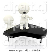 Clipart of a 3d People Singing and Playing Piano Together by