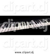 Clipart of a 3d Piano Board with Keys by Frank Boston