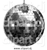 Clipart of a 3d Platinum Disco Ball over White by Tonis Pan