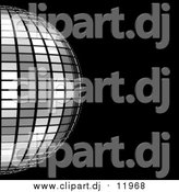 Clipart of a 3d Platinum Mirror Disco Ball on Black by ShazamImages