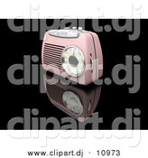 Clipart of a 3d Retro Pink Radio by KJ Pargeter