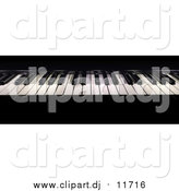 November 1st, 2015: Clipart of a 3d Shiny Black and White Piano Keyboard by Frank Boston