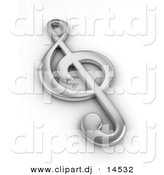 Clipart of a 3d Silver Clef Note by BNP Design Studio