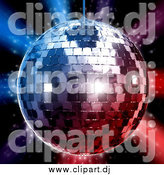 Clipart of a 3d Silver Disco Ball over Red and Blue Lights on Black by Tonis Pan