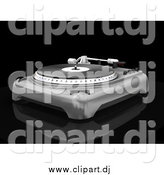 Clipart of a 3d Silver Record Player with the Spinning Table, Needle and Knobs, on a Reflective Black Surface by KJ Pargeter