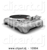 Clipart of a 3d Silver Turntable with Spinner, Needle and Knobs by KJ Pargeter