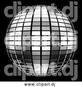 Clipart of a 3d Tiled Silver Mirror Disco Ball on Black by ShazamImages