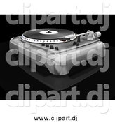 Clipart of a 3d Turntable with the Spinner, Needle and Knobs, on a Black Reflective Surface by KJ Pargeter