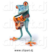 Clipart of a 3d Turquoise Frog Playing a Guitar by Julos