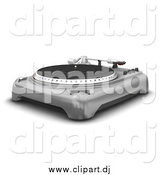 Clipart of a 3d Vintage Record Player with the Spinning Table, Needle and Knobs, over White by KJ Pargeter