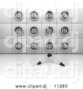Clipart of a 3d Wall of Music Speakers and a Microphone on a Tripod by KJ Pargeter