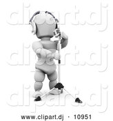 Clipart of a 3d White Character Musician Wearing Headphones and Singing into a Microphone by KJ Pargeter