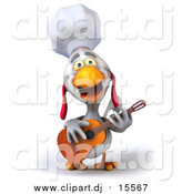 Clipart of a 3d White Chef Chicken Playing a Guitar and Singing by Julos