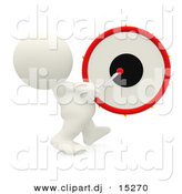 Clipart of a 3d White Guy Beating Drum While Marching Forward by Andresr