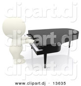Clipart of a 3d White Guy Playing Piano by