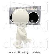 Clipart of a 3d White Kid Walking with Old School Boombox over His Shoulder by Andresr