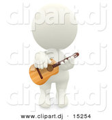 Clipart of a 3d White Man Playing His Acoustic Guitar by