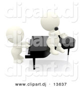 Clipart of a 3d White People Playing a Piano and Singing into Microphone by