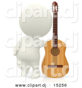 Clipart of a 3d White Person Beside His Wooden Acoustic Guitar by