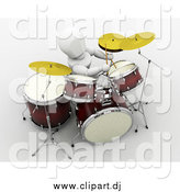 Clipart of a 3d White Person Drummer by KJ Pargeter