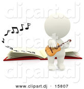 Clipart of a 3d White Person Playing Acoustic Guitar Beside a Book with Music Notes by
