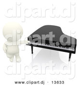 Clipart of a 3d White Person Standing Beside Piano by