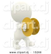 Clipart of a 3d White Person with Marching Cymbals by