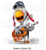 Clipart of a 3d White Police Chicken Playing a Guitar by Julos