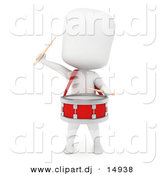 Clipart of a 3d White Student Playing Drum by BNP Design Studio