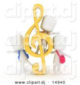 Clipart of a 3d White Students Playing with a G Clef Music Note by BNP Design Studio