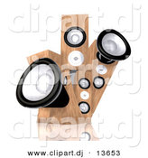 Clipart of a 3d Wood Speakers by